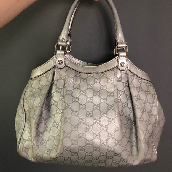 7637af594f6f Gucci Bags   Silver Ssima Leather Sukey Tote Bag   Poshmark